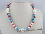cn062 disc coral beads single necklace with turquoise beads
