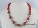 cn063 Round coral single strand necklace with silver beads