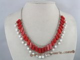 cn064 hand wrapped red coral necklace in 925 silver chain