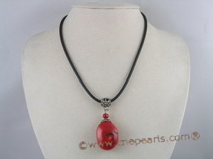 cn065 Hand crafted 22*30MM oval red coral pendant necklace