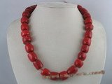 cn068 16*18mm columned red coral necklace in wholesale