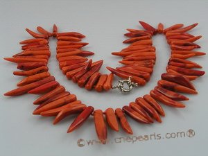 cn070 6*30mm capsicum shap red coral beads necklace wholesale