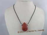cn073 red tear-drop sponge coral cord pendant necklace
