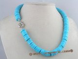 cn074 12mm coin shape turquoise necklace in wholesale