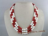cn075 triple strands round coral and tridacna necklace