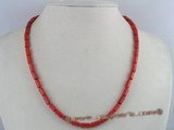 cn079 wholesale 5*9mm columned red coral necklace