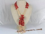 cn086 6-7mm pink bread pearl with coral beads Matinee Necklaces