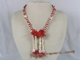 cn088 sing red branch coral beads neckalce with cultured pearl