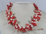 cn089 Red capsicum shape coral twisted neckalce with white potato pearl