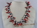 cn090 Red capsicum shape coral twisted neckalce with side-drill pearl