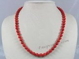 cn091  8mm red round coral beads single necklace