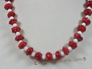 cn098  red flower carve coral beads single necklace with deep sea tridacna
