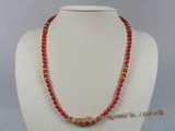 cn099 6mm red round coral beads single strand necklace