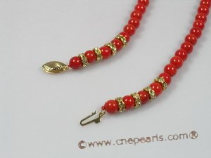 cn100 6mm red round coral beads single strand necklace
