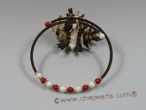 cn102 Brown rubber cord & 8mm round red coral beads necklace