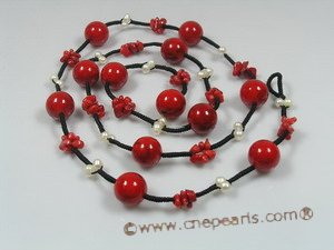 cn104 Red coral & cultured pearl rubber cord  long necklace jewelry