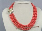 cn106 triple strands 8mm pink round coral necklace with shell clasp