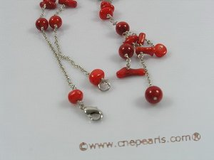cn108 Fashion Red coral single strand necklace with 