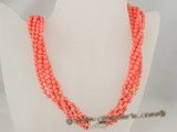 cn109 six strands 4mm pink round coral twisted necklace in wholesale