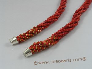 cn110 six strands 4mm red round coral twisted necklace in wholesale