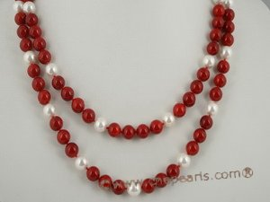 cn113 Red coral mix with south sea shell pearl double strand nekclace