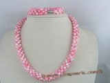 cnset002 Hand knotten 5mm pink round Coral beads necklace&bracelet sets