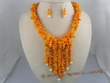 cnset005 Saffron branch coral beads necklace & sterling dangle earrings set wholeslae