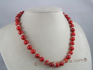 cnset006 10mm red round coral beads necklace & bracelet set with crystal fittings