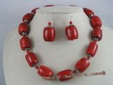 cnset007 17*21mm tubby coral  necklace set with sterling dangle earrings