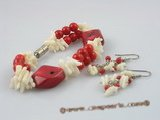 cnset012 white branch coral beads magnetic bracelets & sterling dangling earring set
