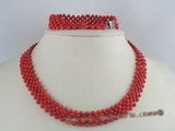 cnset015 handcrafted  4mm round red coral choker necklace/bracelet sets--summer collection