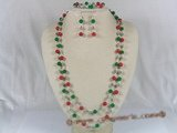 cnset020 handcrafted Sliver needle coral &jade long necklace sets--summer collection