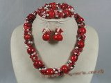 cnset026 Luxuriant coral and pearl Jewelry set