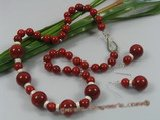 cnset028 Gorgeous red round coral beads necklace earring set in wholesale
