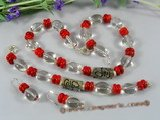 cnset030 Gorgeous red disc coral &baroque crystal christma jewelry set