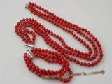 cnset031 6mm round  Red coral necklace jewelry set in triple strand