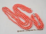 cnset032 Four strand 6mm round  coral necklace jewelry set in pink color