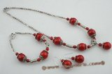 cnset035 Unique red coral and plated silver spacers Necklace & dangling earrings set