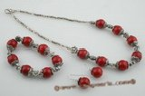 cnset036 Stylish red coral and flower spacers Necklace & bracelet jewelry set