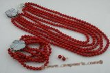 cnset037 Elegant Five rows 6mm round  Red coral necklace jewelry set on sale