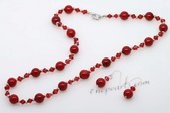 cnset041 Designer Red Coral and Crystal Necklace and Earrings set
