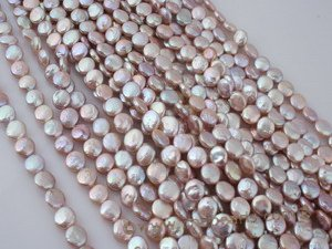 coin025 Nature purple 8.5-9.5mm freshawater coin pearl strands wholesale