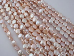 coin026 wholesale 8.5-9.5mm freshawater coin pearl strands in pink color