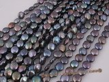 coin027 Wholesale black color freshwater loose pearl strand at size of 8.5-9.5mm