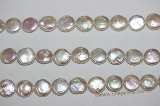 coin031 wholesale 12-13mm good quality white freshwater coin pearl strand