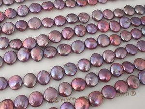 coin_02 11-12mm dye color cultured freshwater coin pearl strands