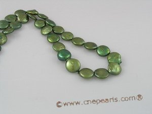 coin_05 12mm olive green cultured freshwater coin shape pearl strands