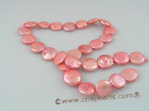 coin_07 12mm peach cultured freshwater dye color coin shape pearls strands