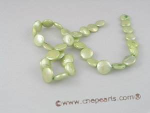 coin_08 12mm green cultured freshwater dye color coin pearls strands