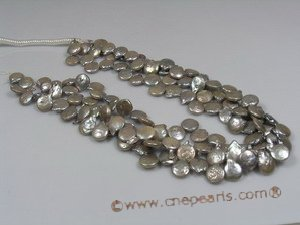 coin_14 12mm grey side-dirlled coin pearl strands wholesale